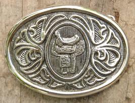 """VTG Western, Saddle Belt Buckle-1 1/2"""" width-Silver Tone-Vintage-Country... - $8.59"""