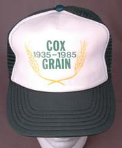 Vintage Trucker Hat COX GRAIN 1935-1985-Mesh Back Farm Hipster Green Whe... - $20.44