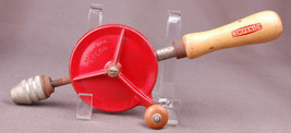 Companion Hand Drill-Wood Handel-Nylon Gears-Made in USA-Red-Eggbeater-W... - $14.01