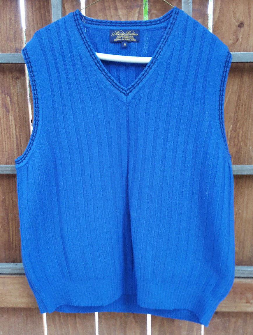 Primary image for Brooks Brothers Sweater Vest-V Neck-100% Lambs Wool-M-Men-Blue-Ribbed-has pills