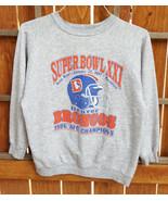 VTG Denver Broncos Super Bowl XXI Sweatshirt-XL-Grey-Made USA-NFL-1989-W... - $37.16