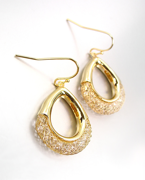Primary image for SHIMMERY SPARKLE 18kt Gold Plated Wire Mesh Ring CZ Crystals Dangle Earrings