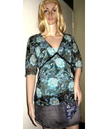 APT. 9 Top S Small Black & Aqua Paisley Sheer Top + FREE CAMI NWT - $16.99
