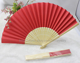 10 x Red Summer Ladies Hollow Outdoor Folding Colorful Paper Hand Fans W... - $12.50