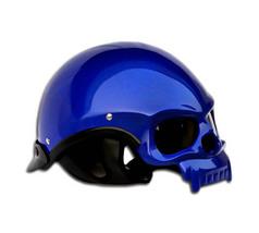 Masei 419 Glossy Blue Skull Motorcycle Chopper Helmet image 5