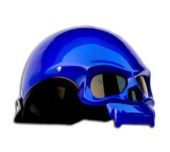 Masei 419 Glossy Blue Skull Motorcycle Chopper Helmet image 2