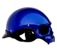 Masei 419 Glossy Blue Skull Motorcycle Chopper Helmet image 3
