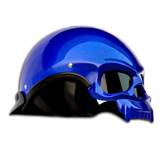Masei 419 Glossy Blue Skull Motorcycle Chopper Helmet image 4