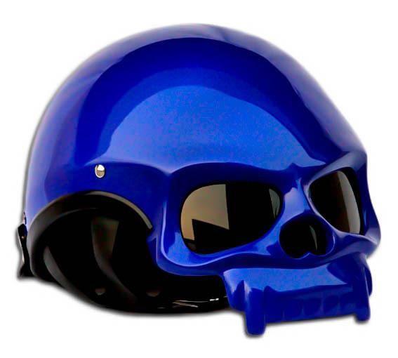 Masei 419 Glossy Blue Skull Motorcycle Chopper Helmet