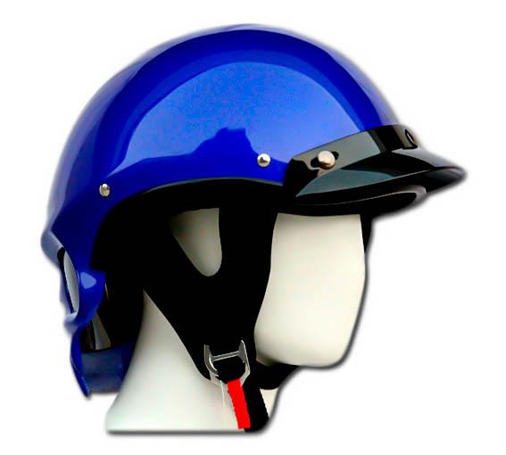 Masei 419 Glossy Blue Skull Motorcycle Chopper Helmet image 6