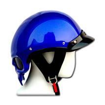 Masei 419 Glossy Blue Skull Motorcycle Chopper Helmet image 7