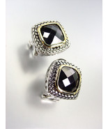 EXQUISITE Balinese Silver Wheat Cable Gold Black Onyx CZ Crystal Square ... - $25.99