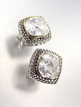 EXQUISITE Balinese Silver Wheat Cable Gold Clear Quartz CZ Crystal Square Earrin - $25.99