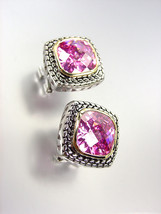 EXQUISITE Balinese Silver Wheat Cable Gold Pink Rose CZ Crystal Square Earrings - £19.75 GBP
