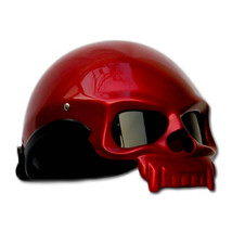 Masei 419 Glossy Red Skull Motorcycle Chopper Helmet image 2