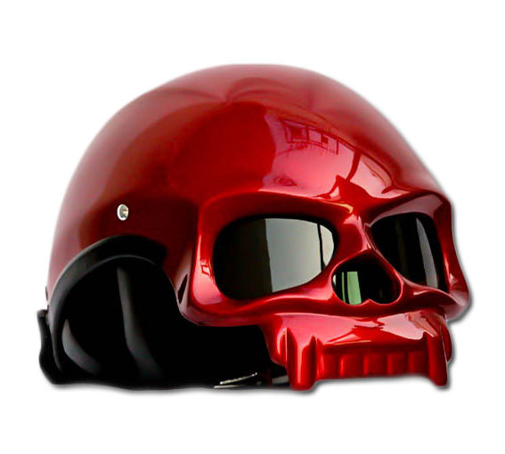 Masei 419 Glossy Red Skull Motorcycle Chopper Helmet