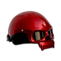 Masei 419 Glossy Red Skull Motorcycle Chopper Helmet image 3