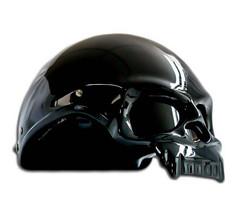 Masei 419 Glossy Black Skull Motorcycle Chopper Helmet image 2