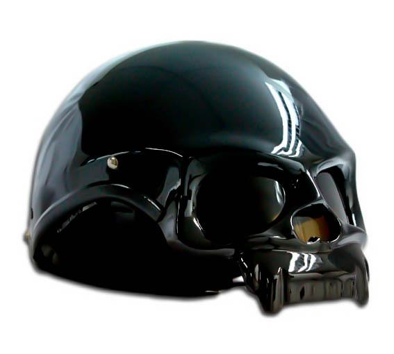 Masei 419 Glossy Black Skull Motorcycle Chopper Helmet image 3
