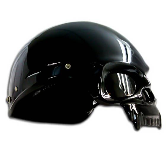 Masei 419 Glossy Black Skull Motorcycle Chopper Helmet image 4