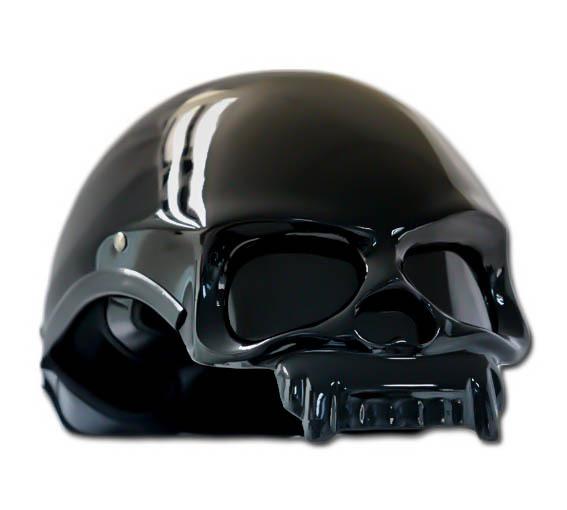 Masei 419 Glossy Black Skull Motorcycle Chopper Helmet