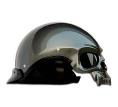 Masei 419 Glossy Gray Skull Motorcycle Chopper Helmet image 4