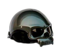 Masei 419 Glossy Gray Skull Motorcycle Chopper Helmet image 3