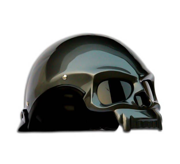 Masei 419 Glossy Gray Skull Motorcycle Chopper Helmet image 2