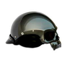 Masei 419 Glossy Gray Skull Motorcycle Chopper Helmet image 5
