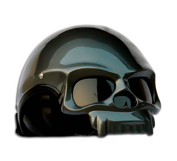 Masei 419 Glossy Gray Skull Motorcycle Chopper Helmet