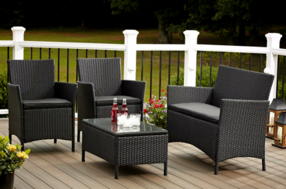 Outdoor sofa and chairs furniture 4 piece resin wicker for Outdoor furniture 4 piece