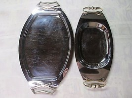2 Vintage Kromex USA Chrome Serving Platters Tr... - $29.65