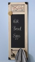 "31.5"" Kitchen Chalkboard with 2 Metal Wall Hook Wall Decor with Sentiment NEW"