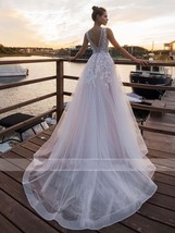 Sexy Sleeveless Deep V Neck Illusion Appliqued Bride Dress A-Line Tulle Luxury W image 2