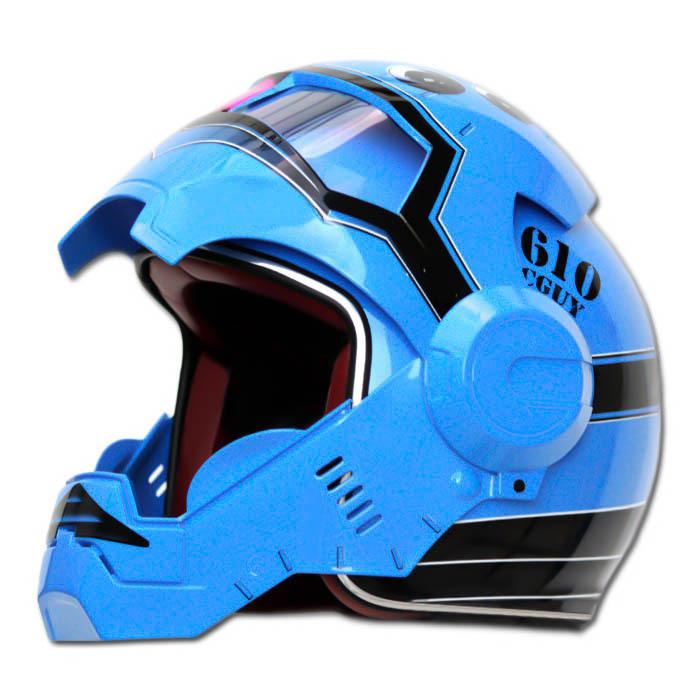 Masei 610 Blue Acguy Motorcycle Helmet image 3