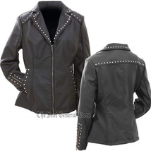 Womans Ladies Tailored Black Faux Leather Studded Jacket Coat with Studs... - $54.49