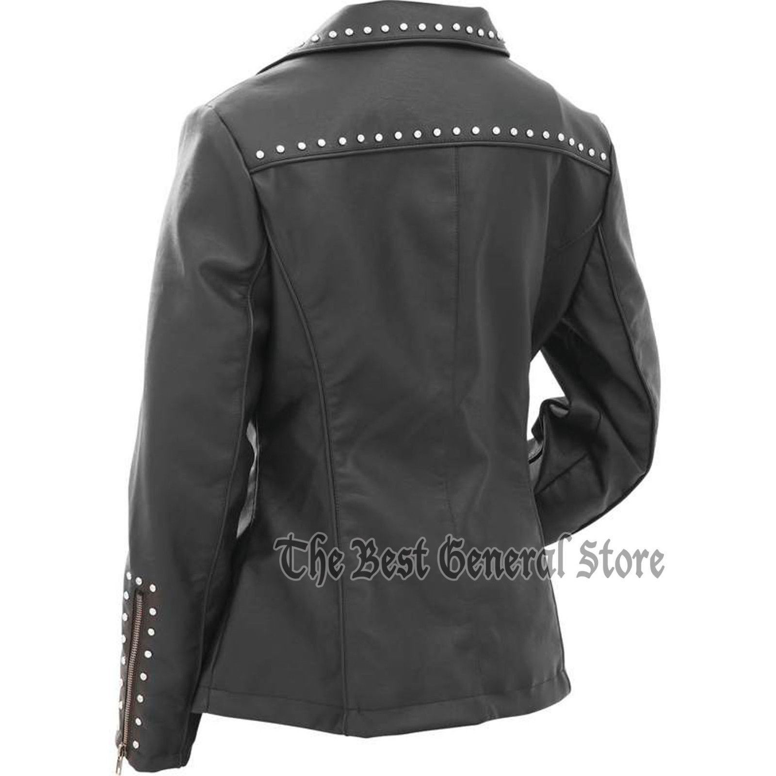Womans Ladies Tailored Black Faux Leather Studded Jacket Coat with Studs Lined
