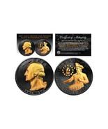RARE BLACK RUTHENIUM 1976 BICENTENNIAL QUARTER 24KT GOLD 2-SIDED COIN! W... - $22.99