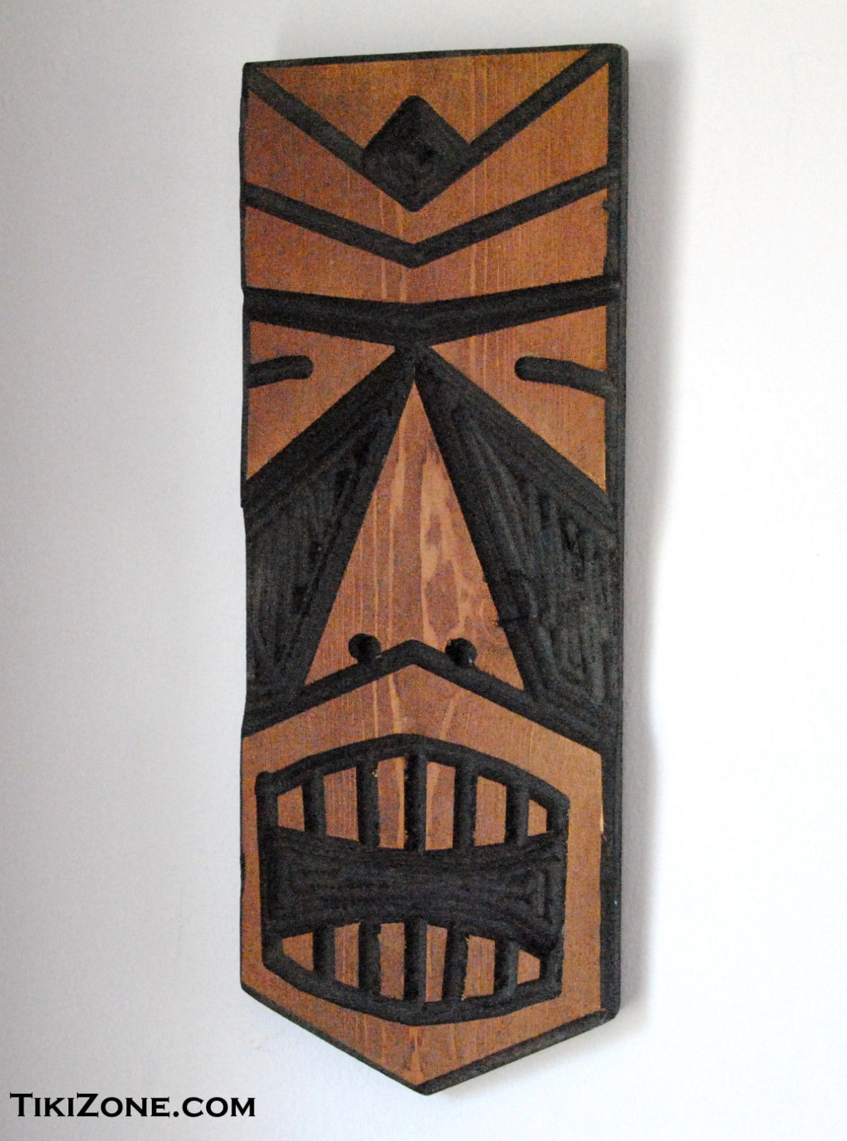 Carved Wood Tiki Head Mask - Hawaiian Tropical Lounge Decor -  Outsider Art