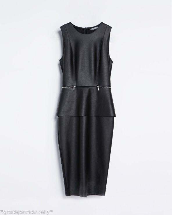 d3fa88ec Zara Faux Leather Peplum Dress Size Small S and 50 similar items. S l1600