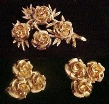 VTG CORO 3D Roses Brooch and Earrings Set Signed - $29.95