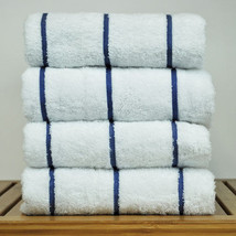 1 pc- NAVY BLUE striped-100% Cotton Turkish luxury Gym Beach Bath Towel ... - $15.99