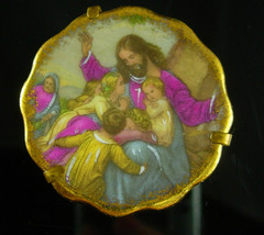 LIMOGES Antique Plate Miniature Jesus  Children religious brass Stand FR... - $55.00