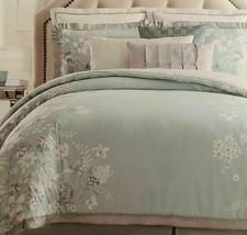 Charisma Molani 4pc King Duvet Set AQUA/GREY Floral DUVET/SHAMS/BEDSKT Nip $399 - $188.09