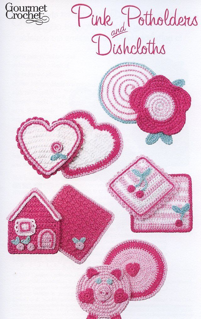 Primary image for Pink Potholders and Dishcloths Gourmet Crochet Pattern Booklet NEW