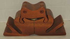 Mid-Century Wooden Frog Puzzle Box Desk Organiz... - $58.41