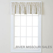 "Swirls Warm Ivory Tailored Window Valance, Modern Design 50"" x 17""- NEW - $17.98"