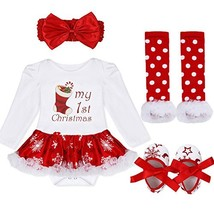MSemis Infant Baby Girls Christmas 4PCS Outfits Romper with Headband Leg... - $27.89