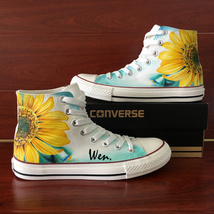 Sunflower Shoes Hand Painted Canvas Sneakers Men Women Converse All Star Chucks - $155.00