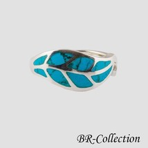 925 Sterling Silver Leaf Ring with Blue Turquoi... - $22.95